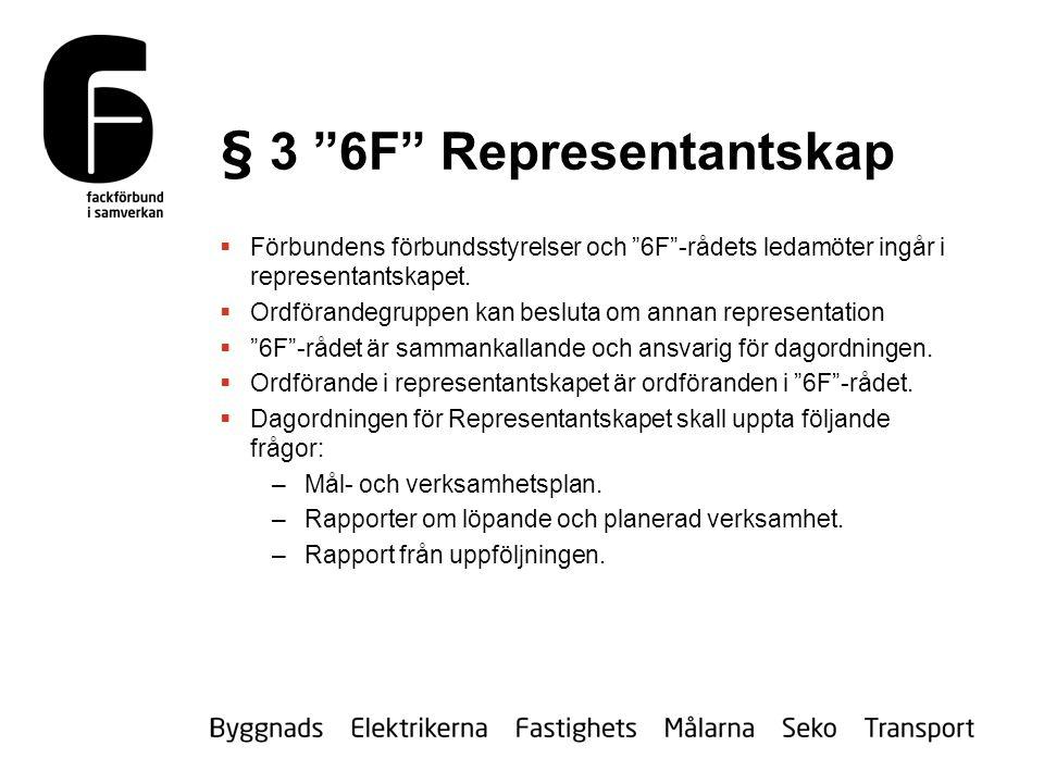 § 3 6F Representantskap  Förbundens förbundsstyrelser och 6F -rådets ledamöter ingår i representantskapet.