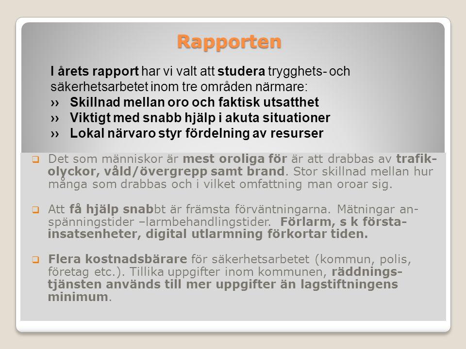 Rapporten Rapporten  Det som människor är mest oroliga för är att drabbas av trafik- olyckor, våld/övergrepp samt brand.