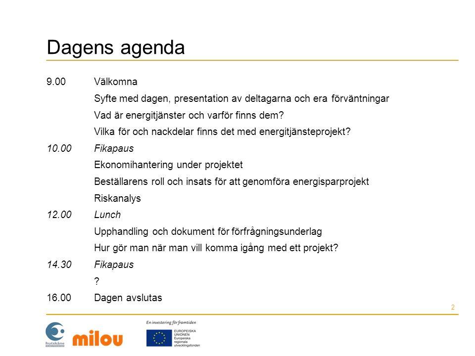 Dagens agenda 9.00Välkomna Syfte med dagen, presentation av deltagarna och era förväntningar Vad är energitjänster och varför finns dem? Vilka för och