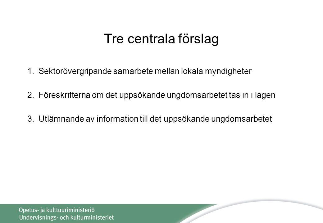 Tre centrala förslag 1.Sektorövergripande samarbete mellan lokala myndigheter 2.Föreskrifterna om det uppsökande ungdomsarbetet tas in i lagen 3.Utlämnande av information till det uppsökande ungdomsarbetet
