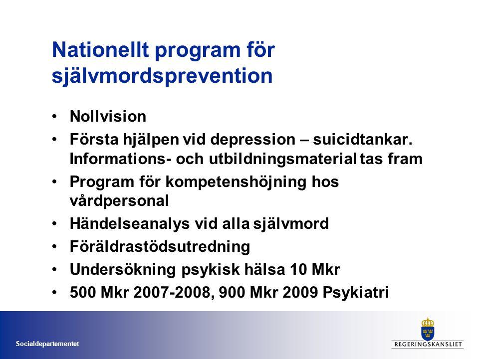 Socialdepartementet Nationellt program för självmordsprevention •Nollvision •Första hjälpen vid depression – suicidtankar.