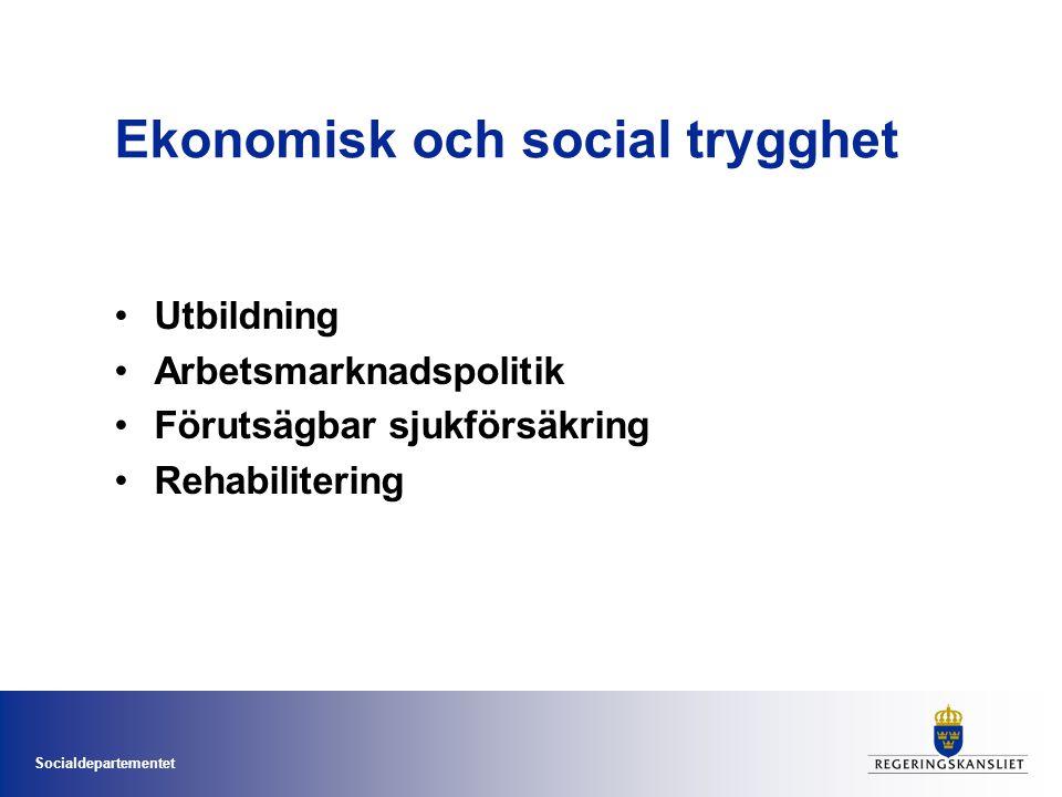 Socialdepartementet Ekonomisk och social trygghet •Utbildning •Arbetsmarknadspolitik •Förutsägbar sjukförsäkring •Rehabilitering