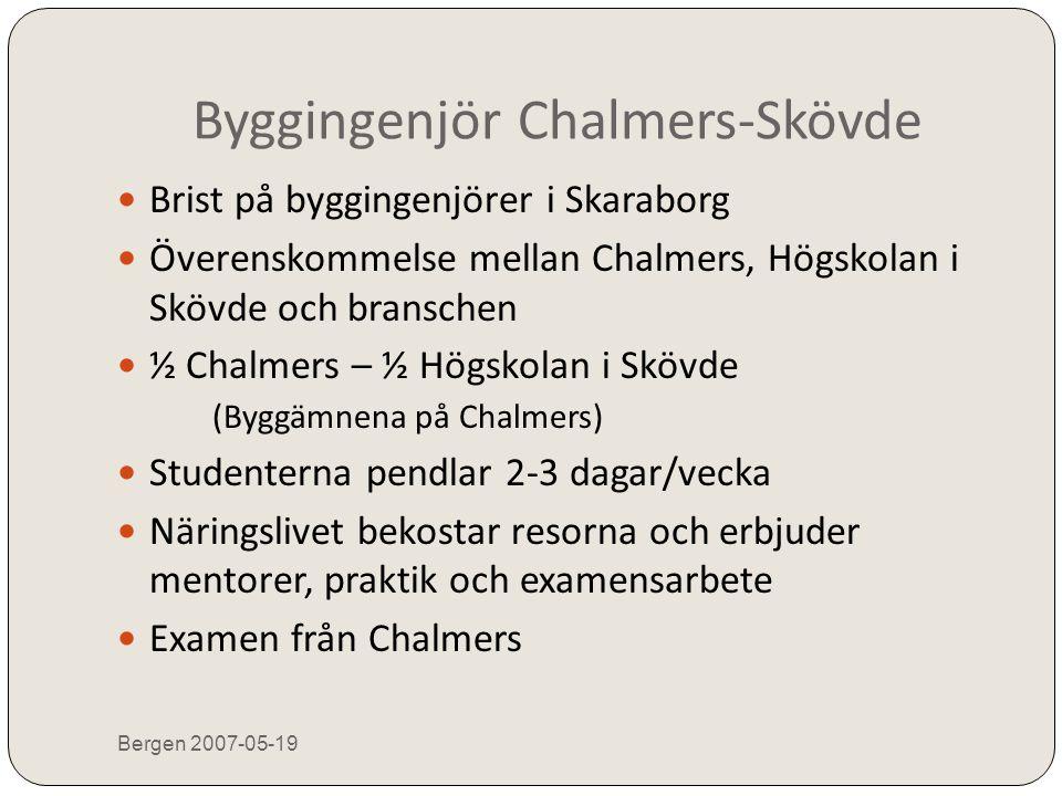 Byggingenjör Chalmers-Skövde Bergen 2007-05-19  Brist på byggingenjörer i Skaraborg  Överenskommelse mellan Chalmers, Högskolan i Skövde och bransch