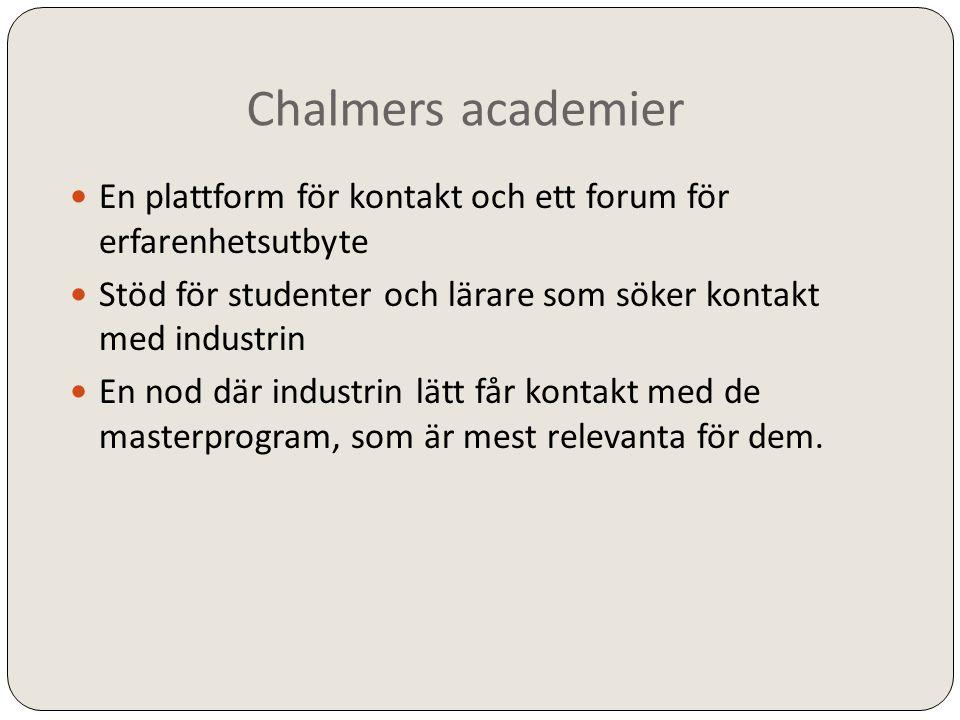 Chalmers academier  En plattform för kontakt och ett forum för erfarenhetsutbyte  Stöd för studenter och lärare som söker kontakt med industrin  En