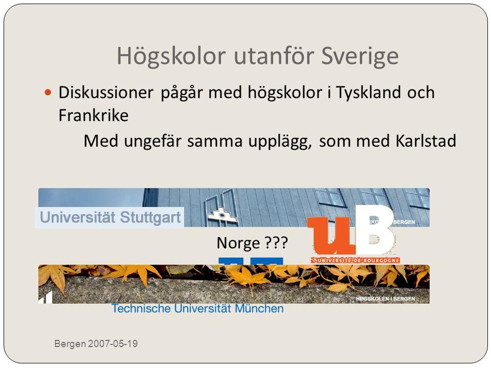 Högskolor utanför Sverige Bergen 2007-05-19  Diskussioner pågår med högskolor i Tyskland och Frankrike Med ungefär samma upplägg, som med Karlstad No
