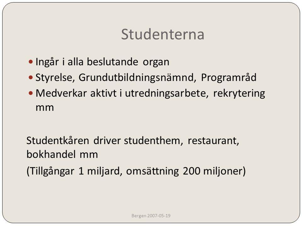 Svenska högskolor Bergen 2007-05-19  Avtal med bl a Karlstad universitet  Studenter i Karlstad, som läser på grundläggande nivå, kan fortsätta på avancerad nivå på Chalmers och få en civilingenjörs/masterexamen  Chalmersstudenter kan fortsätta i Karlstad (Jönköping, Högskolan i väst och kanske fler på samma sätt)
