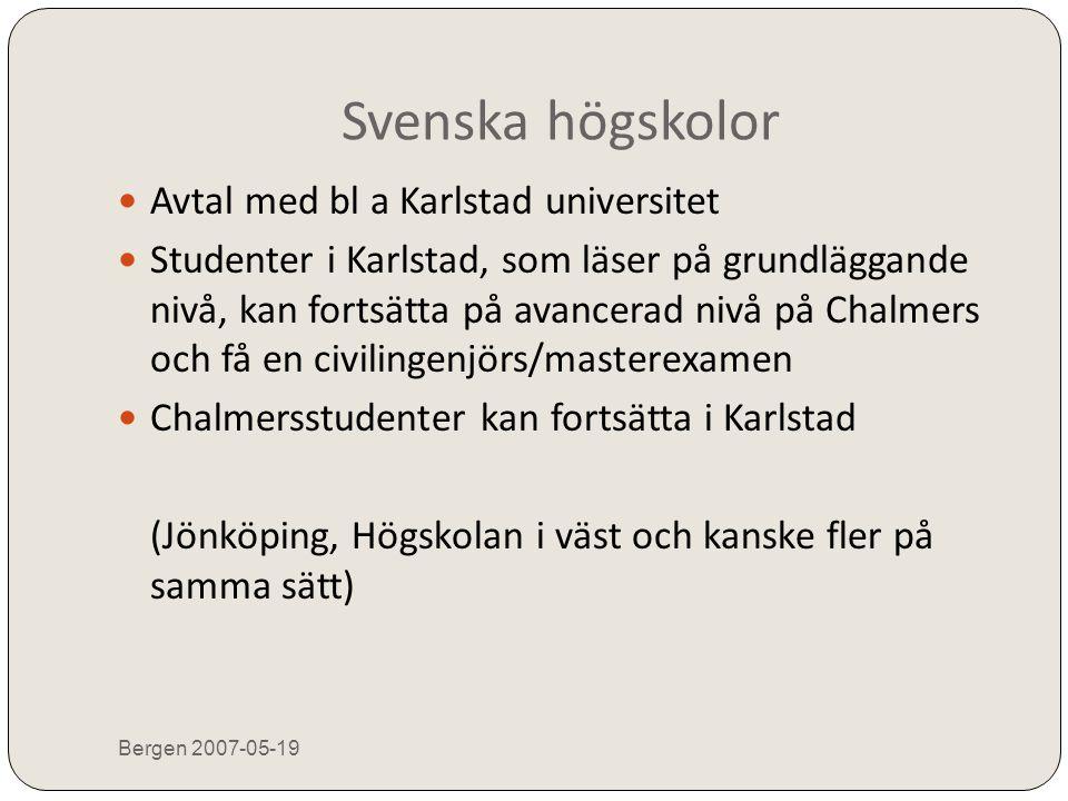 Högskolor utanför Sverige Bergen 2007-05-19  Diskussioner pågår med högskolor i Tyskland och Frankrike Med ungefär samma upplägg, som med Karlstad