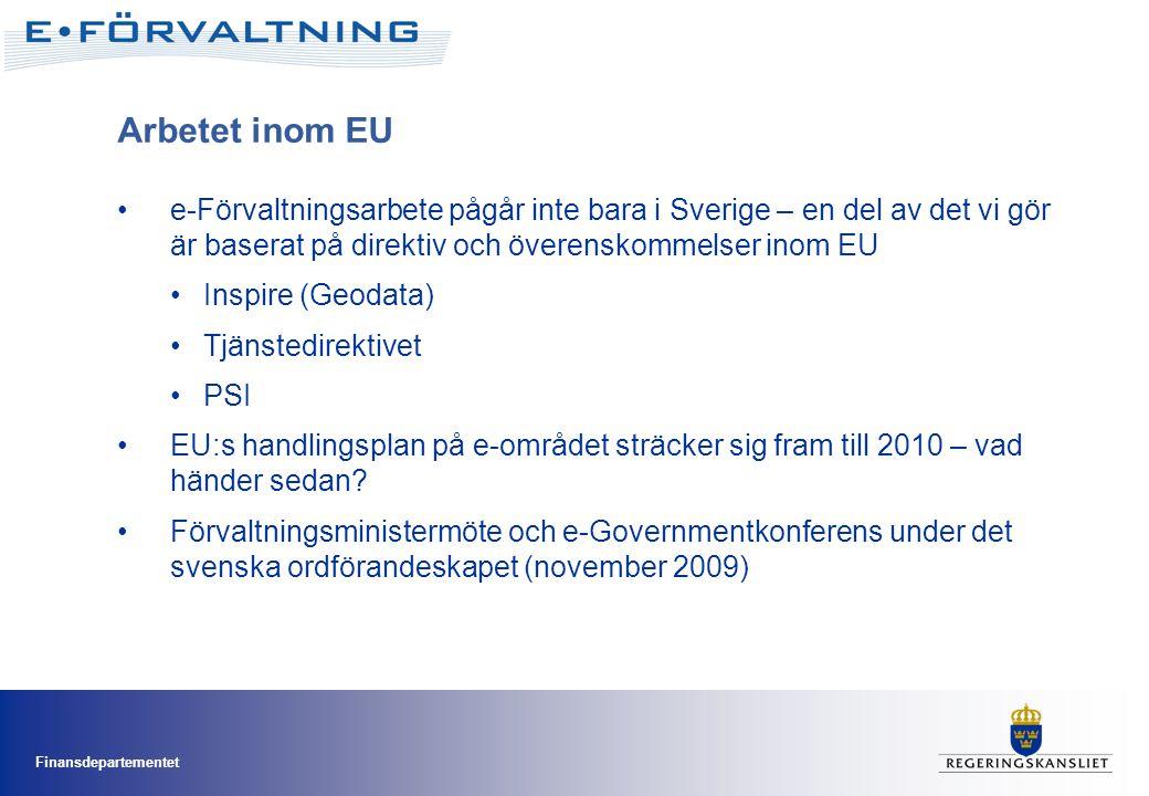 Arbetet inom EU •e-Förvaltningsarbete pågår inte bara i Sverige – en del av det vi gör är baserat på direktiv och överenskommelser inom EU •Inspire (Geodata) •Tjänstedirektivet •PSI •EU:s handlingsplan på e-området sträcker sig fram till 2010 – vad händer sedan.