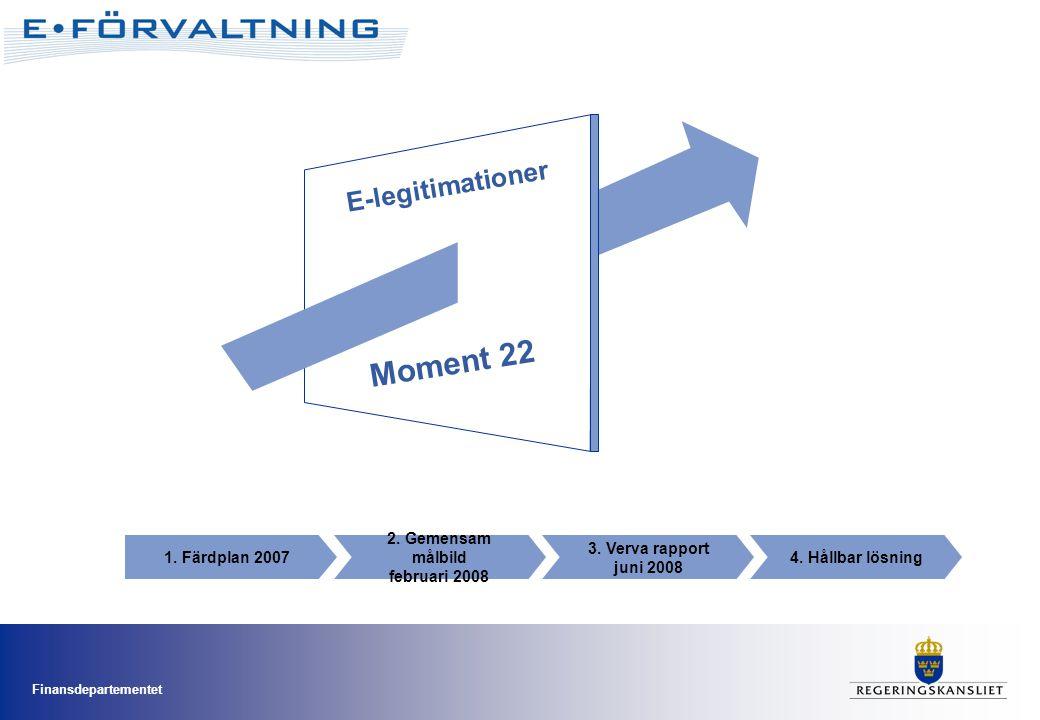 Finansdepartementet 3. Verva rapport juni 2008 4. Hållbar lösning1. Färdplan 2007 2. Gemensam målbild februari 2008 E-legitimationer Moment 22