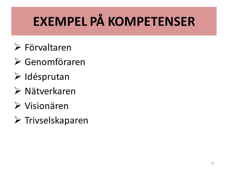 EXEMPEL PÅ KOMPETENSER  Förvaltaren  Genomföraren  Idésprutan  Nätverkaren  Visionären  Trivselskaparen 10