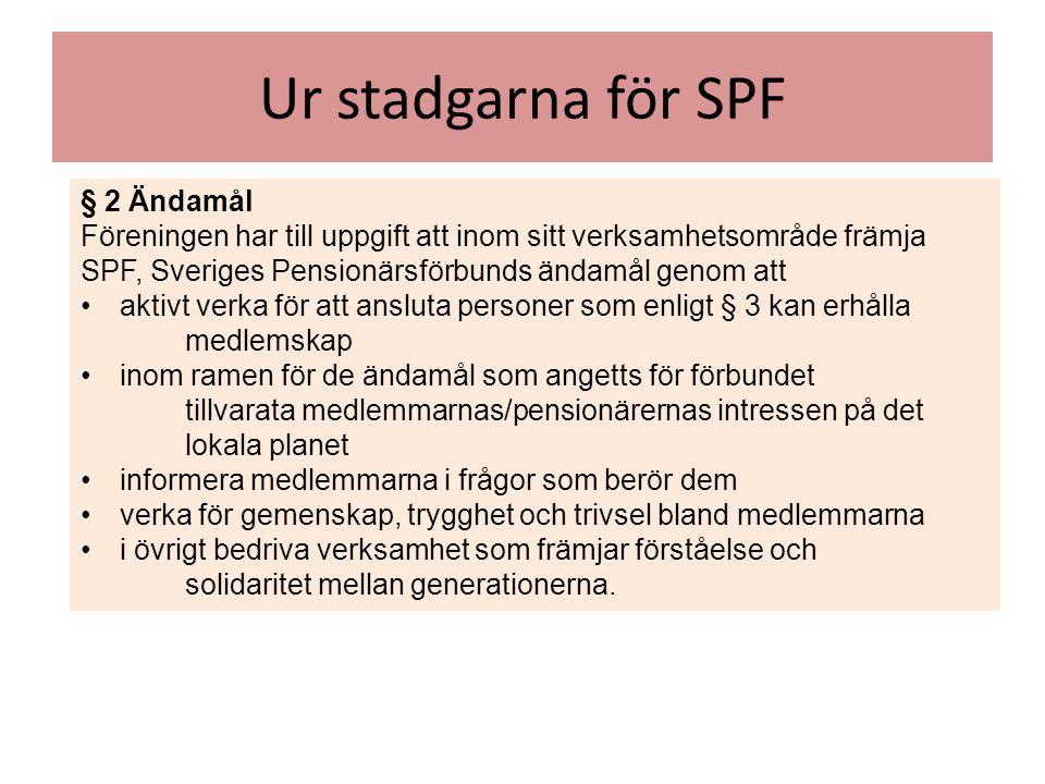 Ur stadgarna för SPF § 2 Ändamål Föreningen har till uppgift att inom sitt verksamhetsområde främja SPF, Sveriges Pensionärsförbunds ändamål genom att