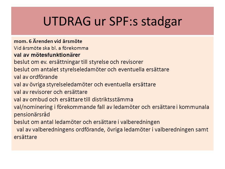 UTDRAG ur SPF:s stadgar mom. 6 Ärenden vid årsmöte Vid årsmöte ska bl. a förekomma val av mötesfunktionärer beslut om ev. ersättningar till styrelse o