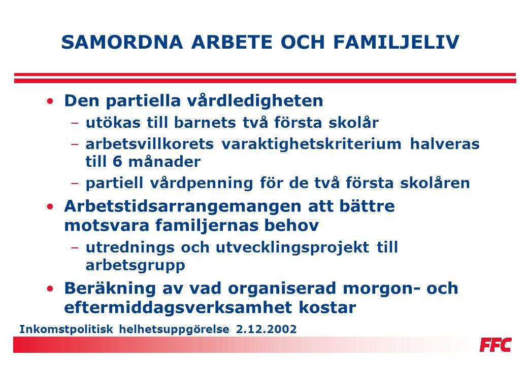 Inkomstpolitisk helhetsuppgörelse 2.12.2002 SAMORDNA ARBETE OCH FAMILJELIV •Den partiella vårdledigheten –utökas till barnets två första skolår –arbet