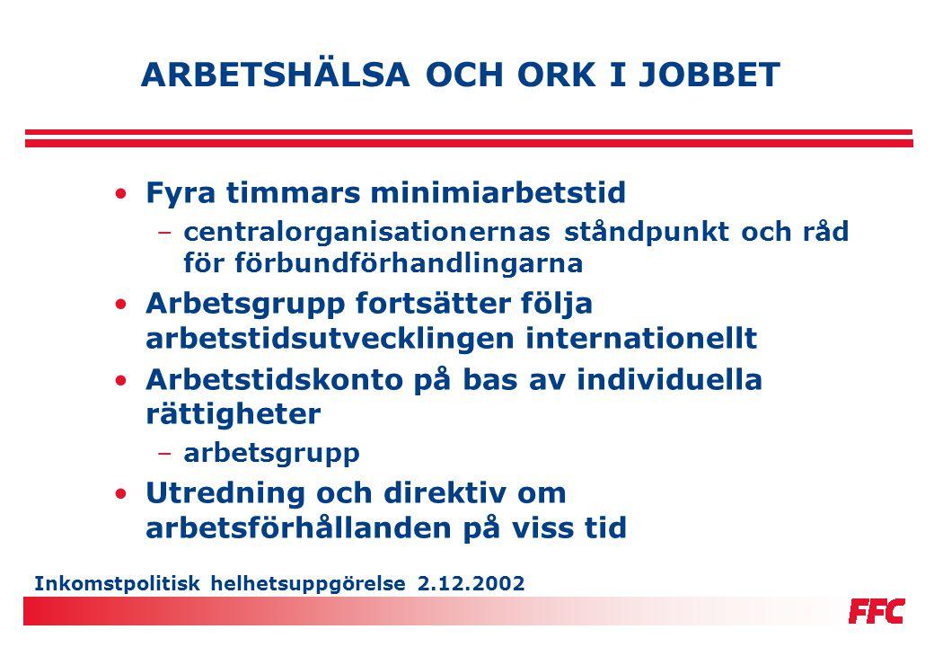 Inkomstpolitisk helhetsuppgörelse 2.12.2002 ARBETSHÄLSA OCH ORK I JOBBET •Fyra timmars minimiarbetstid –centralorganisationernas ståndpunkt och råd fö