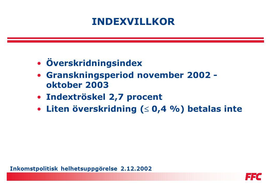 Inkomstpolitisk helhetsuppgörelse 2.12.2002 INDEXVILLKOR •Överskridningsindex •Granskningsperiod november 2002 - oktober 2003 •Indextröskel 2,7 procen