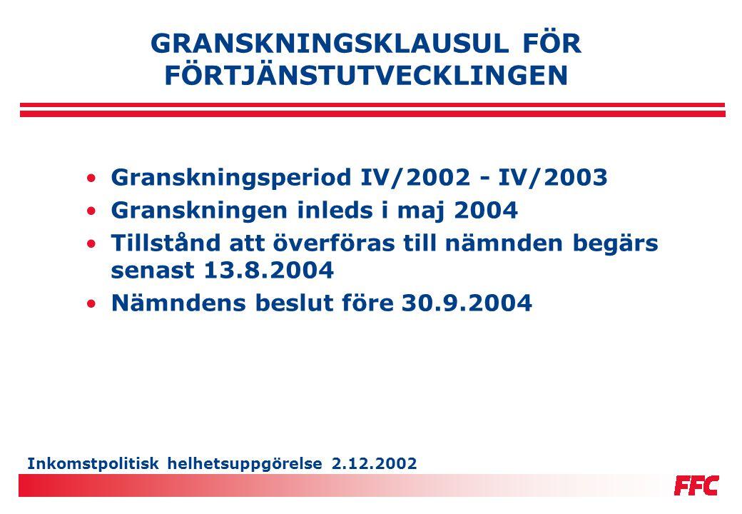 Inkomstpolitisk helhetsuppgörelse 2.12.2002 STATSMAKTENS ÅTGÄRDER •Ökade anslag till vuxenbefolkningens kompetens- utvecklingsprogram och till läroavtalsutbildningen (3,5 milj.