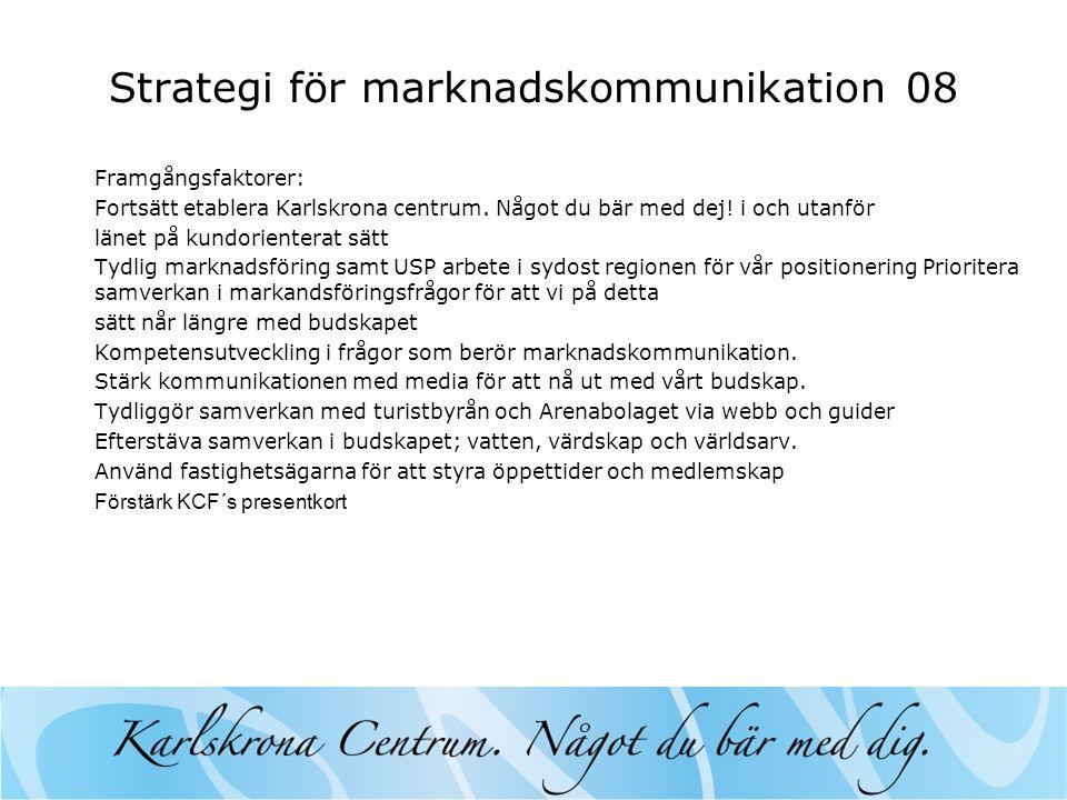 Strategi för marknadskommunikation 08 Framgångsfaktorer: Fortsätt etablera Karlskrona centrum.