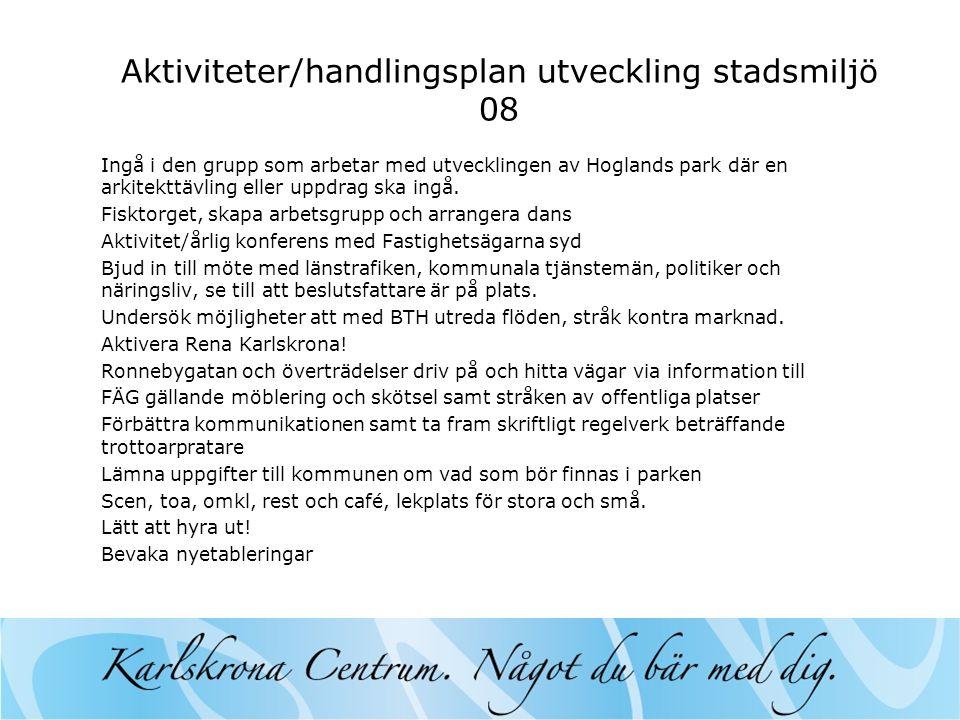 Aktiviteter/handlingsplan utveckling stadsmiljö 08 Ingå i den grupp som arbetar med utvecklingen av Hoglands park där en arkitekttävling eller uppdrag ska ingå.