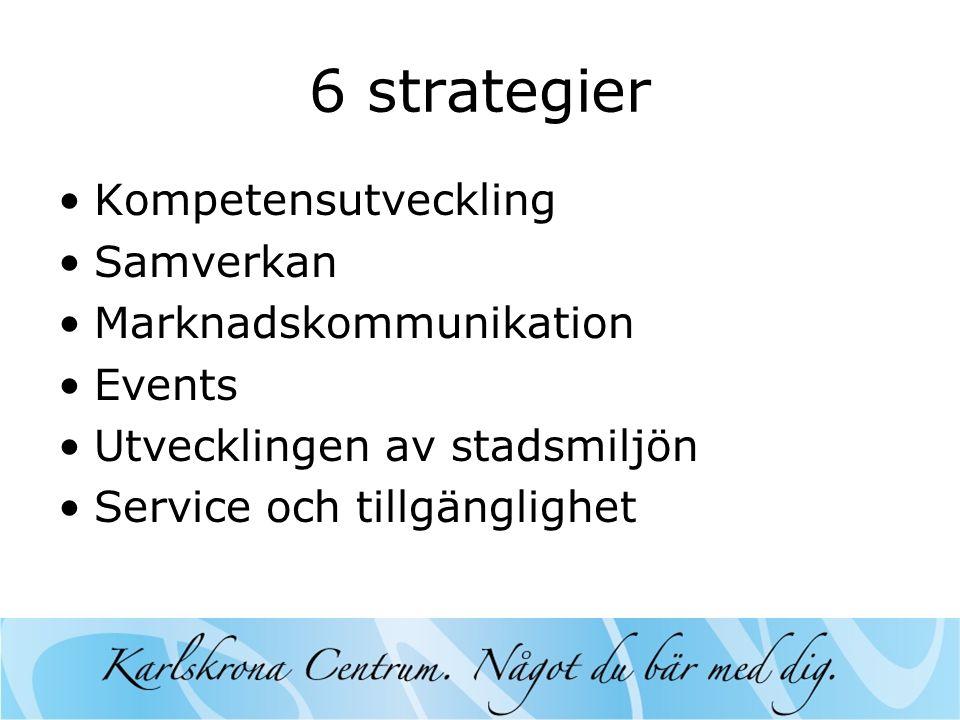6 strategier •Kompetensutveckling •Samverkan •Marknadskommunikation •Events •Utvecklingen av stadsmiljön •Service och tillgänglighet