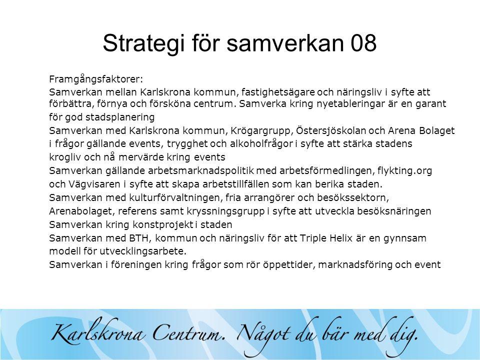 Strategi för samverkan 08 Framgångsfaktorer: Samverkan mellan Karlskrona kommun, fastighetsägare och näringsliv i syfte att förbättra, förnya och försköna centrum.