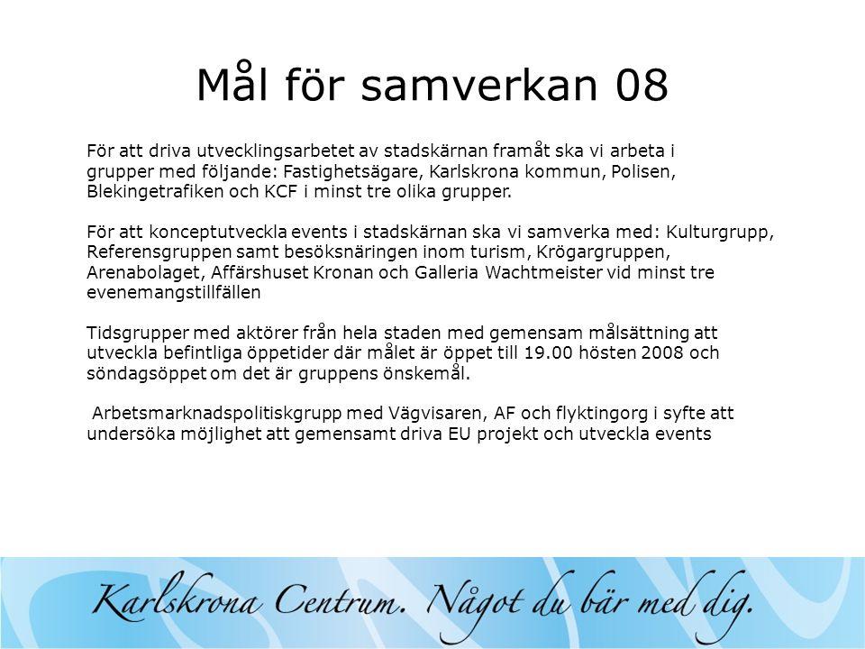 Mål för samverkan 08 För att driva utvecklingsarbetet av stadskärnan framåt ska vi arbeta i grupper med följande: Fastighetsägare, Karlskrona kommun, Polisen, Blekingetrafiken och KCF i minst tre olika grupper.