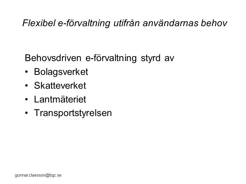 gunnar.claesson@bgc.se Flexibel e-förvaltning utifrån användarnas behov Behovsdriven e-förvaltning styrd av •Bolagsverket •Skatteverket •Lantmäteriet •Transportstyrelsen