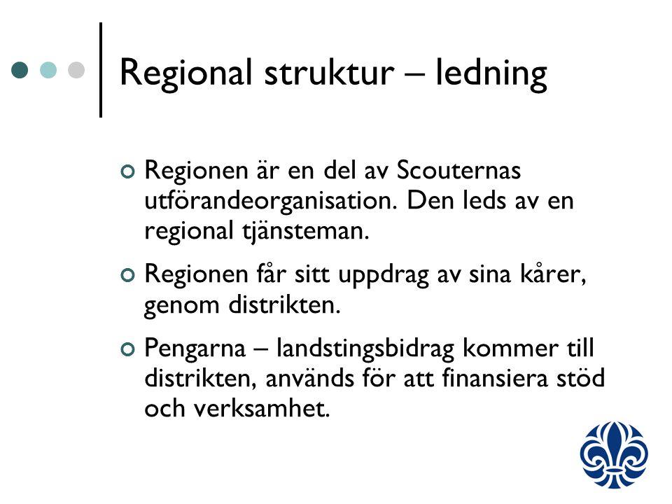 Regional struktur – ledning Regionen är en del av Scouternas utförandeorganisation.