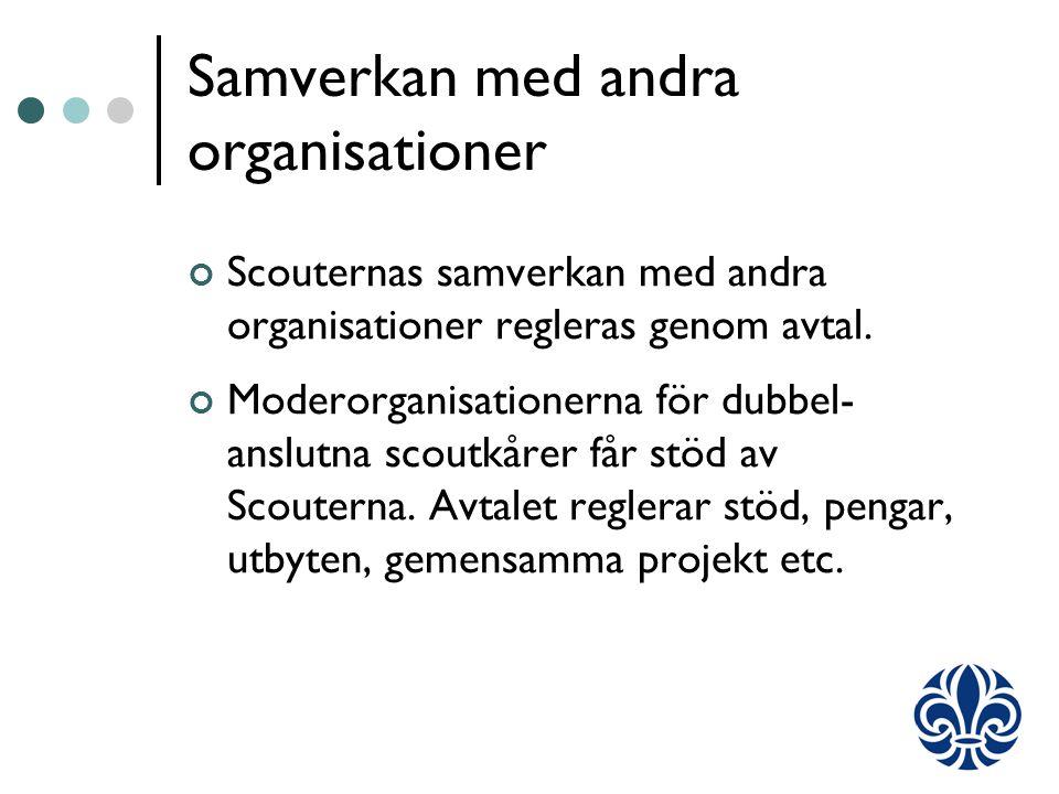 Samverkan med andra organisationer Scouternas samverkan med andra organisationer regleras genom avtal.