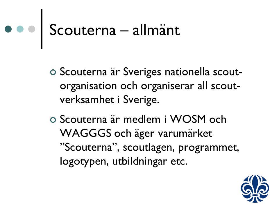 Scouterna – allmänt Scouterna är Sveriges nationella scout- organisation och organiserar all scout- verksamhet i Sverige.