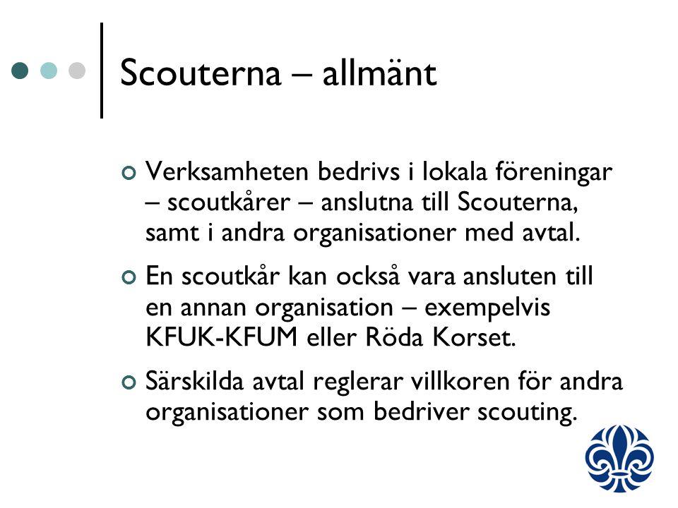 Scouterna – allmänt Verksamheten bedrivs i lokala föreningar – scoutkårer – anslutna till Scouterna, samt i andra organisationer med avtal.