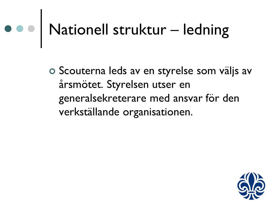Nationell struktur – ledning Scouterna leds av en styrelse som väljs av årsmötet.