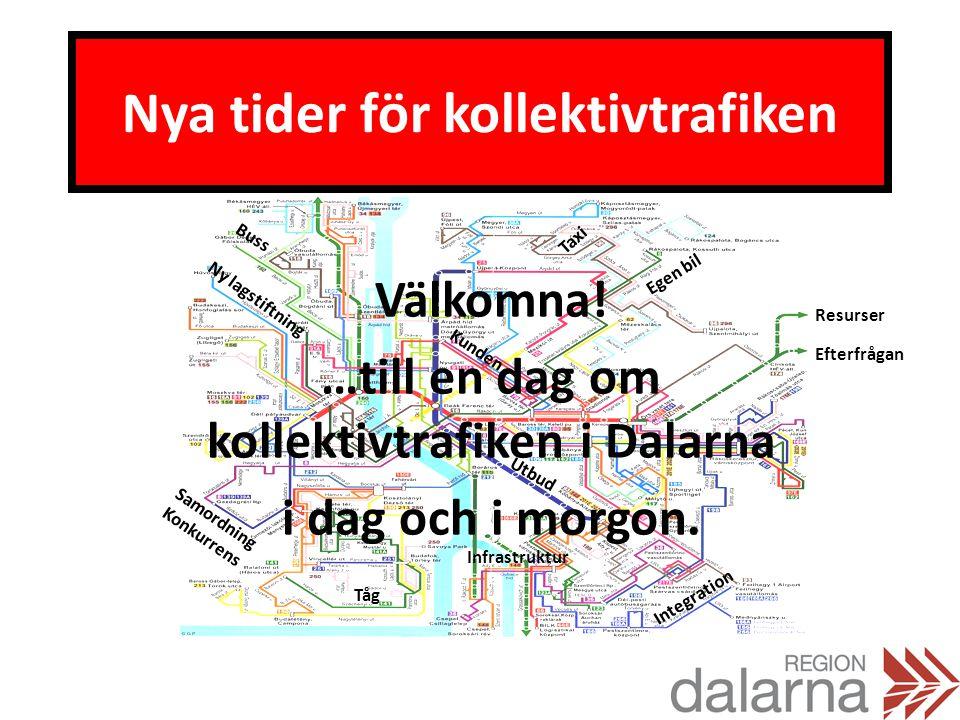 Nya tider för kollektivtrafiken Välkomna! …till en dag om kollektivtrafiken i Dalarna i dag och i morgon. Buss Egen bil Tåg Taxi Integration Samordnin