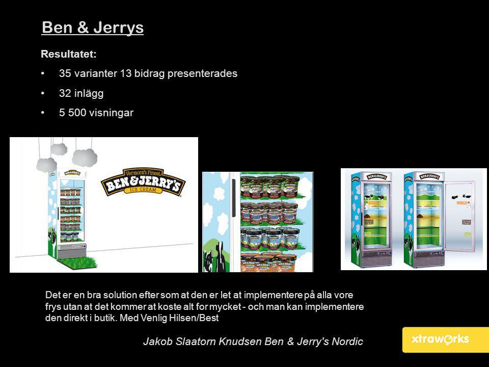 Ben & Jerrys Resultatet: •35 varianter 13 bidrag presenterades •32 inlägg •5 500 visningar Det er en bra solution efter som at den er let at implement