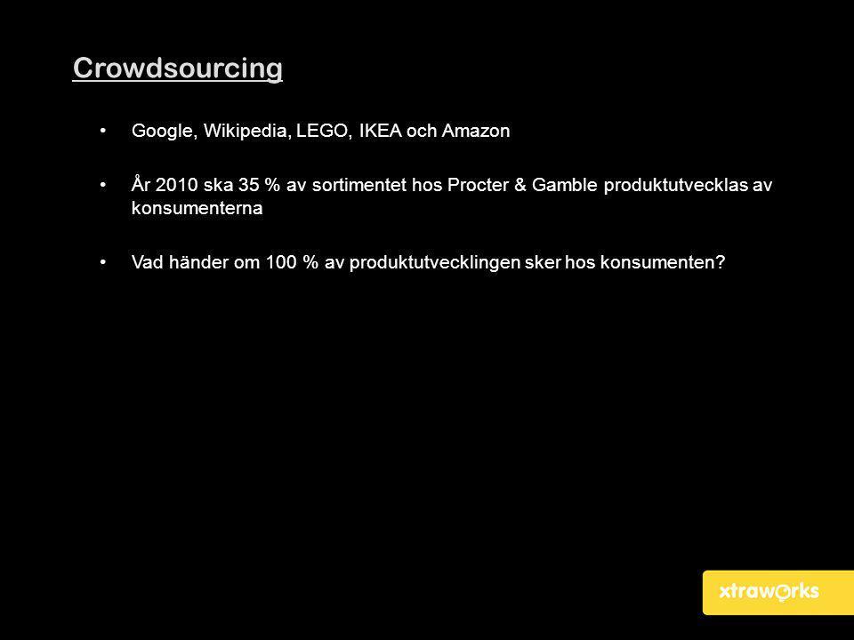 Crowdsourcing •Google, Wikipedia, LEGO, IKEA och Amazon •År 2010 ska 35 % av sortimentet hos Procter & Gamble produktutvecklas av konsumenterna •Vad h