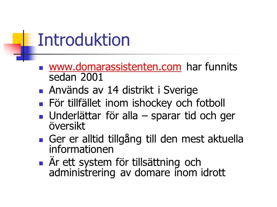 Introduktion  www.domarassistenten.com har funnits sedan 2001 www.domarassistenten.com  Används av 14 distrikt i Sverige  För tillfället inom ishoc