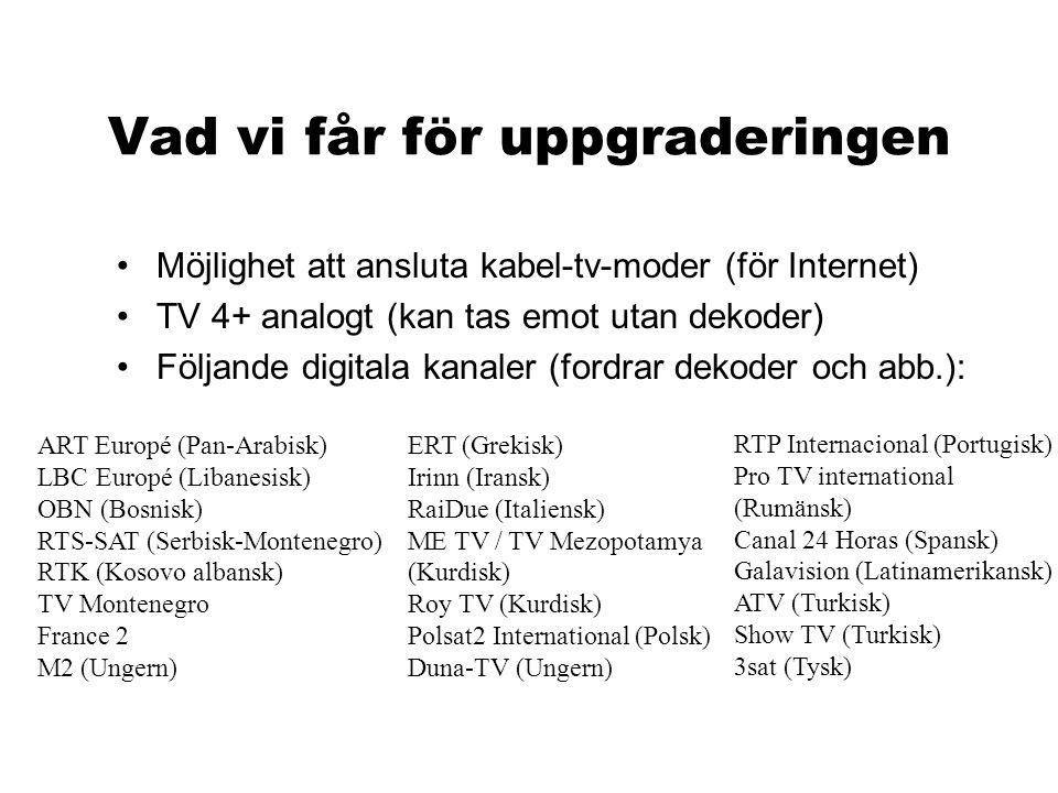 Vad vi får för uppgraderingen •Möjlighet att ansluta kabel-tv-moder (för Internet) •TV 4+ analogt (kan tas emot utan dekoder) •Följande digitala kanal