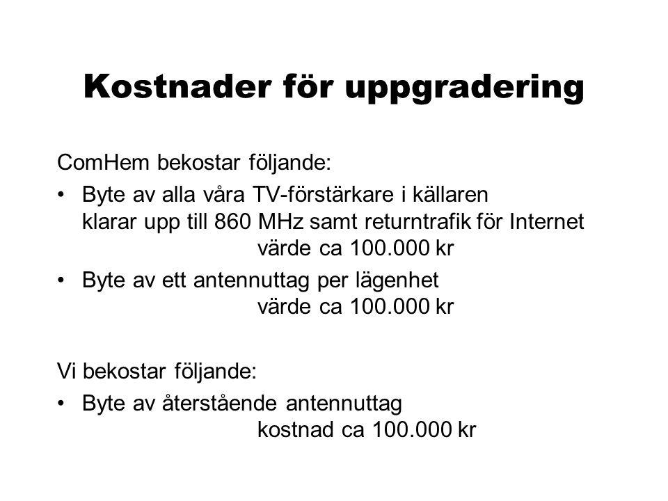 Boxerbjudande från ComHem Separat erbjudande •alla hushåll får en digital-TV-box •extra kanaler endast om man skaffar abonnemang •föreningen betalar 39 kr/mån/lgh för samtliga lägenheter Inget beslut fattat.