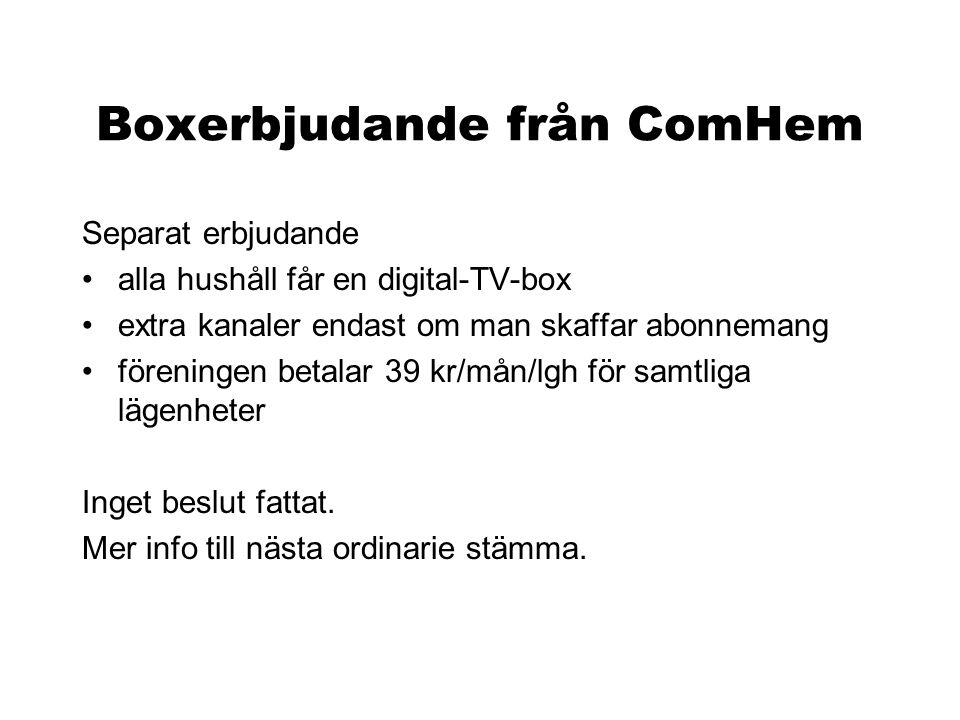 Boxerbjudande från ComHem Separat erbjudande •alla hushåll får en digital-TV-box •extra kanaler endast om man skaffar abonnemang •föreningen betalar 3