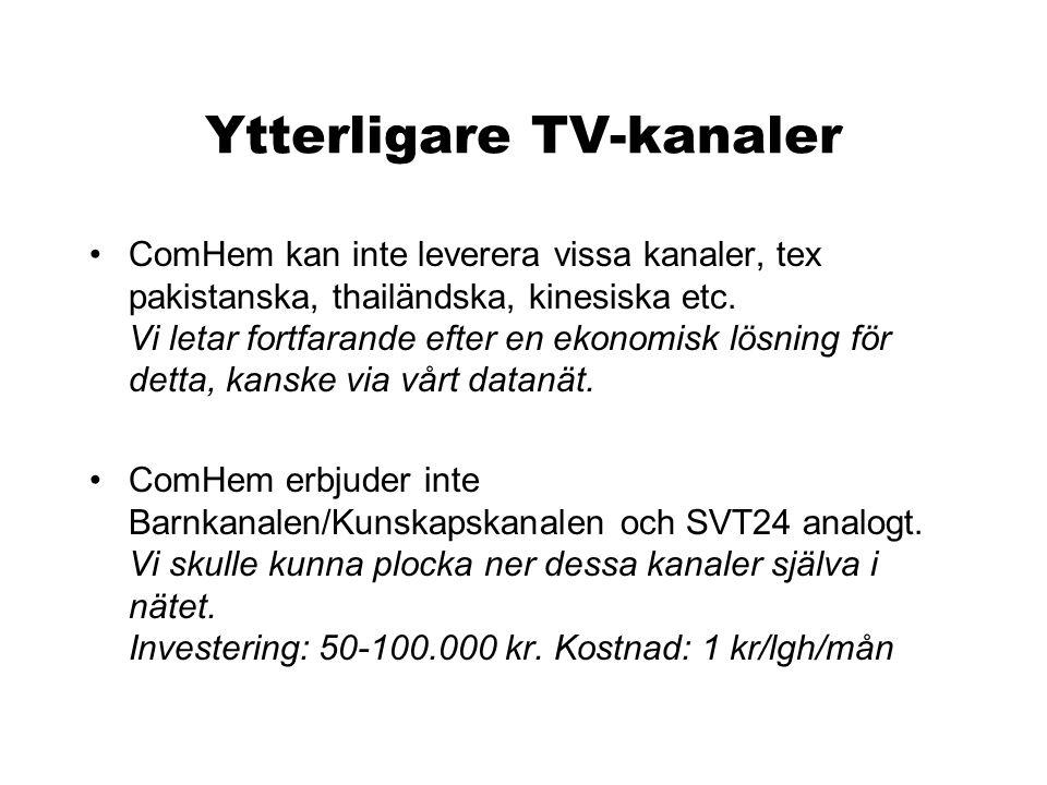 Ytterligare TV-kanaler •ComHem kan inte leverera vissa kanaler, tex pakistanska, thailändska, kinesiska etc. Vi letar fortfarande efter en ekonomisk l