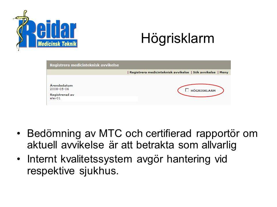 Högrisklarm •Bedömning av MTC och certifierad rapportör om aktuell avvikelse är att betrakta som allvarlig •Internt kvalitetssystem avgör hantering vid respektive sjukhus.