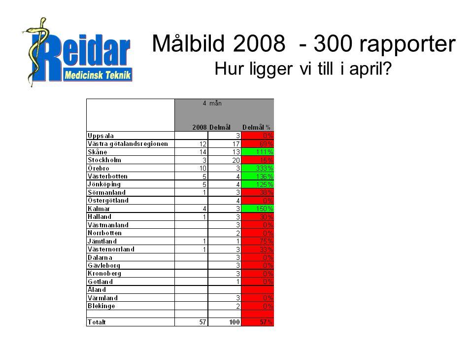 Målbild 2008 - 300 rapporter Hur ligger vi till i april?