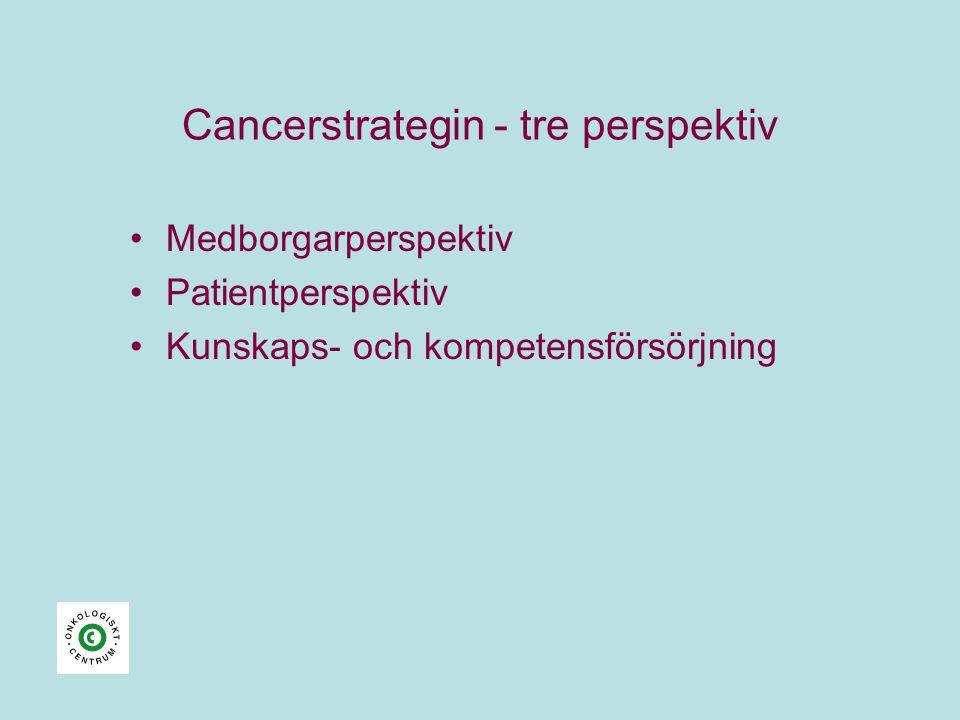 Cancerstrategin - tre perspektiv •Medborgarperspektiv •Patientperspektiv •Kunskaps- och kompetensförsörjning