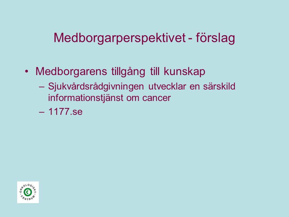 Medborgarperspektivet - förslag •Medborgarens tillgång till kunskap –Sjukvårdsrådgivningen utvecklar en särskild informationstjänst om cancer –1177.se