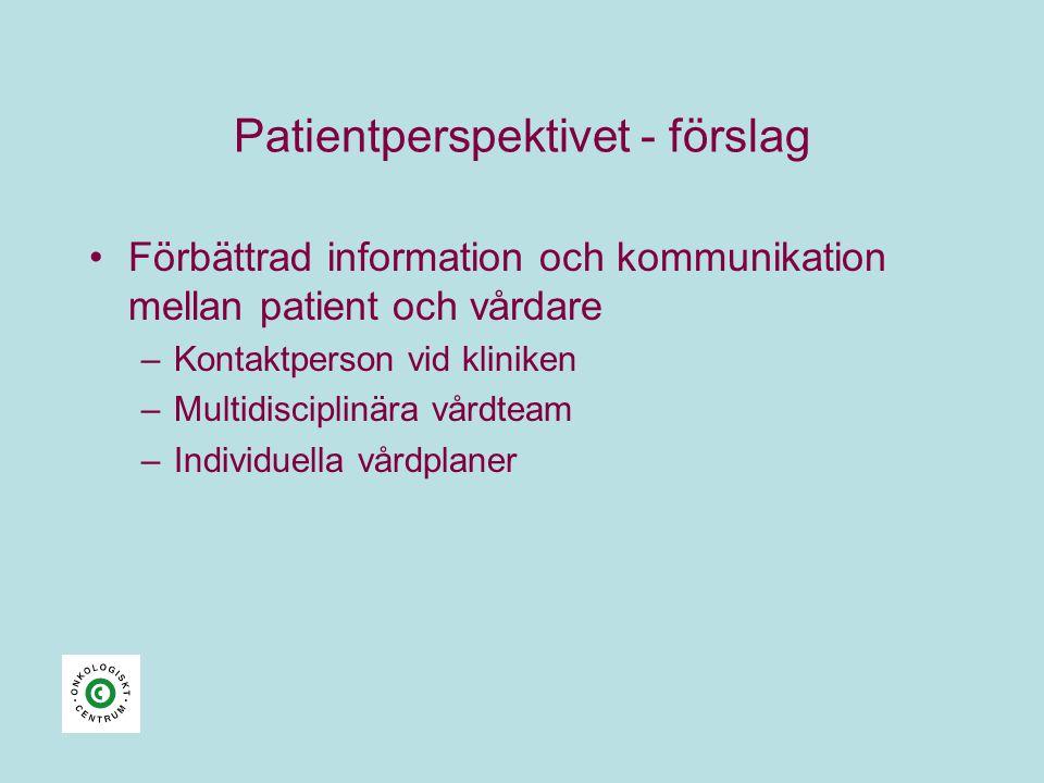 Patientperspektivet - förslag •Förbättrad information och kommunikation mellan patient och vårdare –Kontaktperson vid kliniken –Multidisciplinära vårdteam –Individuella vårdplaner