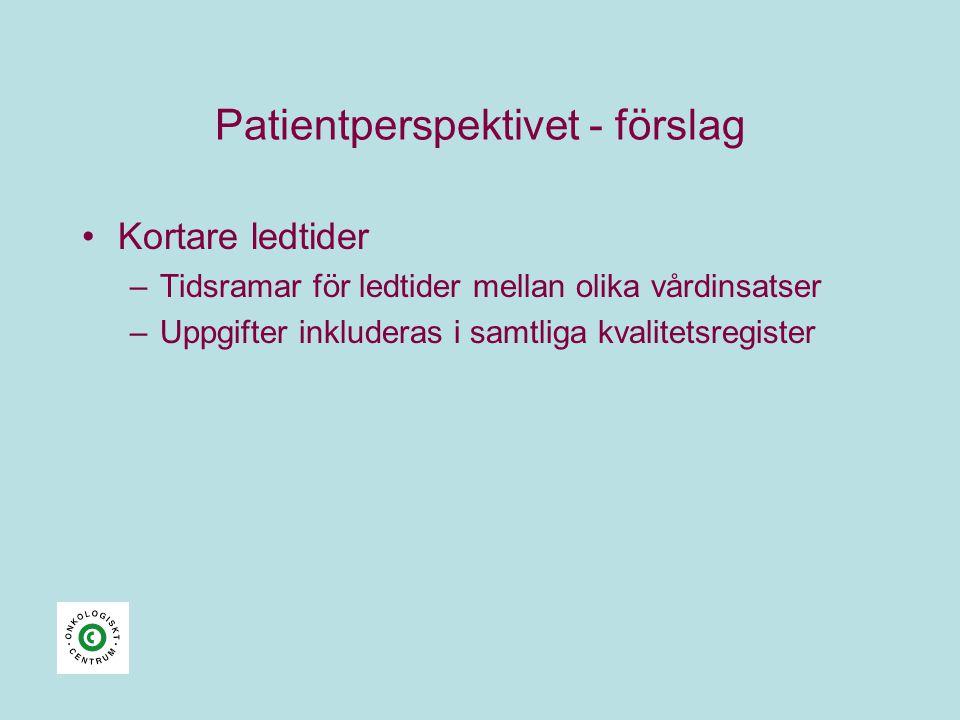 Patientperspektivet - förslag •Kortare ledtider –Tidsramar för ledtider mellan olika vårdinsatser –Uppgifter inkluderas i samtliga kvalitetsregister