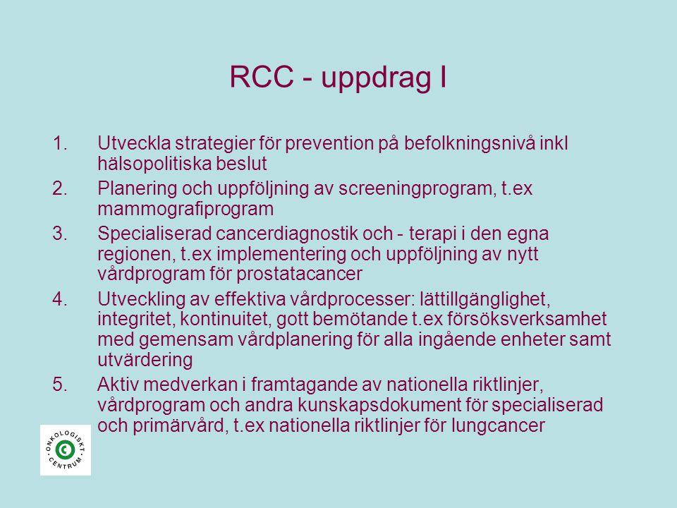 RCC - uppdrag I 1.Utveckla strategier för prevention på befolkningsnivå inkl hälsopolitiska beslut 2.Planering och uppföljning av screeningprogram, t.ex mammografiprogram 3.Specialiserad cancerdiagnostik och - terapi i den egna regionen, t.ex implementering och uppföljning av nytt vårdprogram för prostatacancer 4.Utveckling av effektiva vårdprocesser: lättillgänglighet, integritet, kontinuitet, gott bemötande t.ex försöksverksamhet med gemensam vårdplanering för alla ingående enheter samt utvärdering 5.Aktiv medverkan i framtagande av nationella riktlinjer, vårdprogram och andra kunskapsdokument för specialiserad och primärvård, t.ex nationella riktlinjer för lungcancer