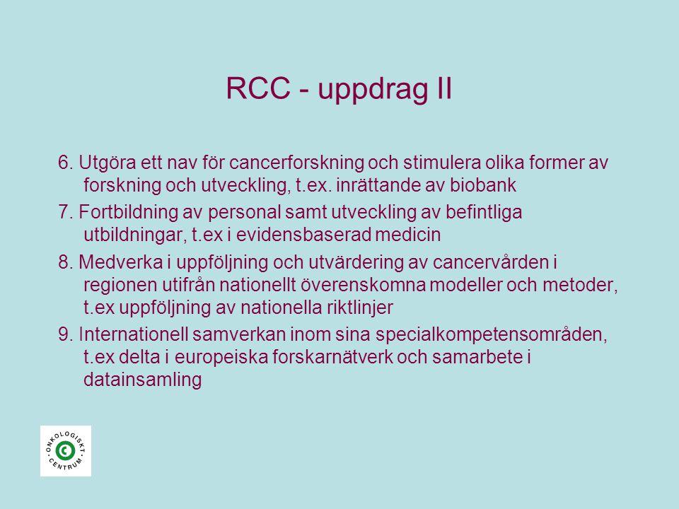 RCC - uppdrag II 6. Utgöra ett nav för cancerforskning och stimulera olika former av forskning och utveckling, t.ex. inrättande av biobank 7. Fortbild