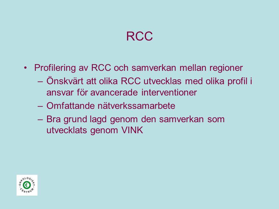 RCC •Profilering av RCC och samverkan mellan regioner –Önskvärt att olika RCC utvecklas med olika profil i ansvar för avancerade interventioner –Omfattande nätverkssamarbete –Bra grund lagd genom den samverkan som utvecklats genom VINK