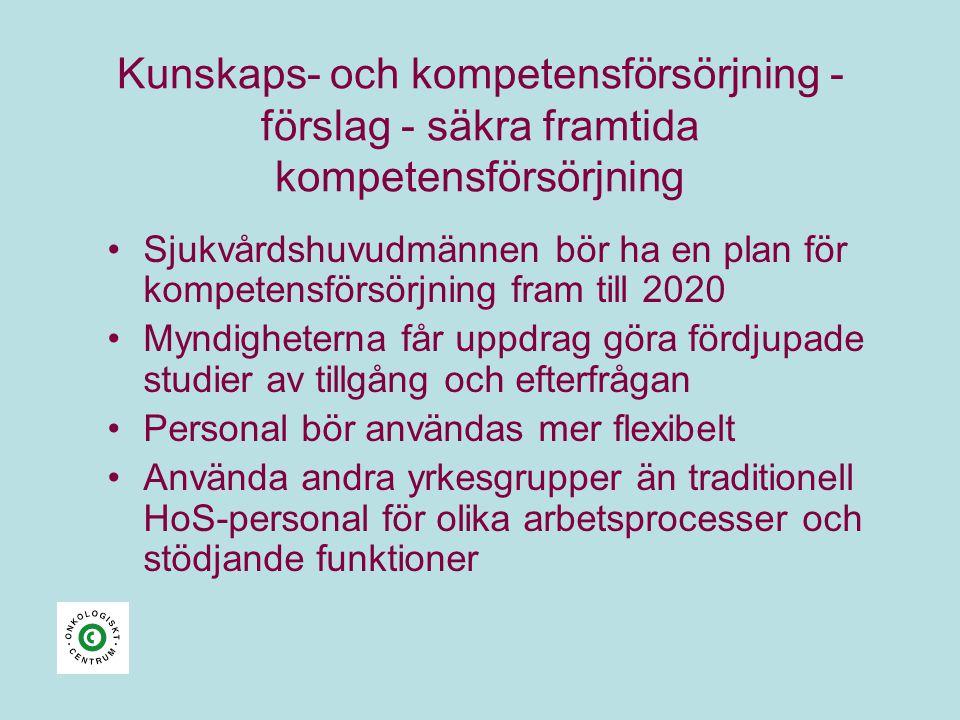 Kunskaps- och kompetensförsörjning - förslag - säkra framtida kompetensförsörjning •Sjukvårdshuvudmännen bör ha en plan för kompetensförsörjning fram
