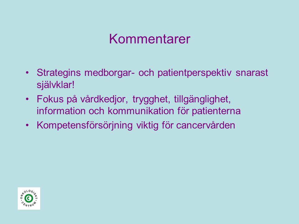 Kommentarer •Strategins medborgar- och patientperspektiv snarast självklar! •Fokus på vårdkedjor, trygghet, tillgänglighet, information och kommunikat